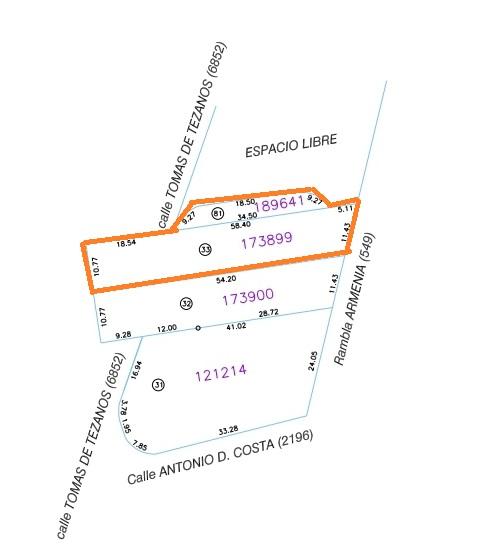 Plano La Casa violeta Rambla y tomás de Tezanos