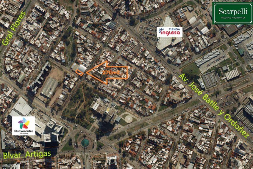 foto aérea terreno Andres Lamas 3410 Shopping Nuevo Centro Corrazo